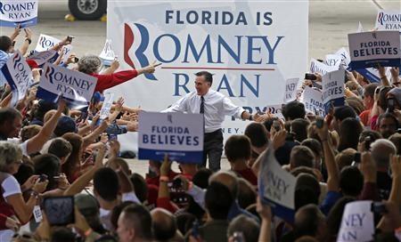Ông Romney trong chiến dịch tranh cử tại Sandford, bang Florida hôm qua