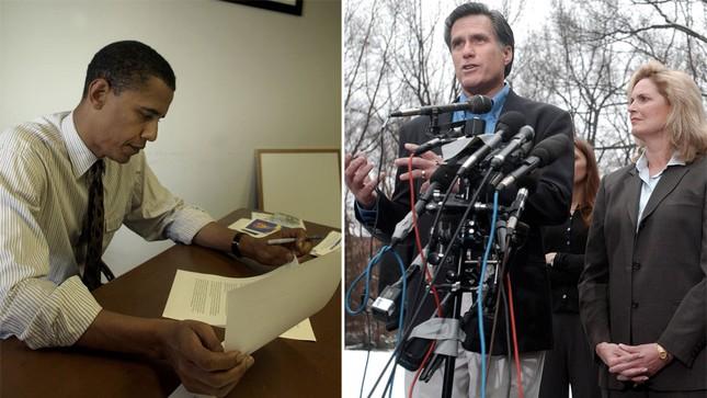 Ảnh chụp ông Obama vào năm 2004, khi ông là tân thượng nghị sĩ. Bên phải là ảnh ông Mitt Romney cùng phu nhân Ann chụp năm 2002. Đây cũng là thời điểm ông Mitt Romney chuẩn bị cho cuộc đua thống đốc bang Massachusetts và ông đã giành chiến thắng
