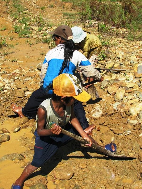 Nhóm bạn Bhnướch Thị Nanh (thôn Lầy, xã Tư) cật lực đào đãi vàng cám dưới cái nắng như thiêu đốt