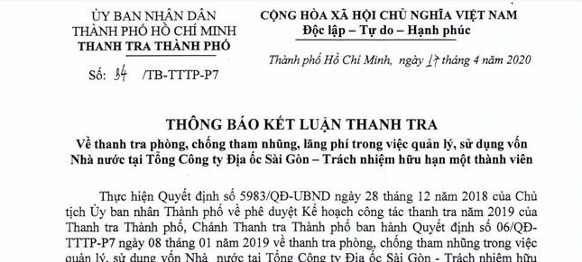 Thanh tra chỉ rõ nhiều sai phạm tại Tổng Công ty Địa ốc Sài Gòn ảnh 1