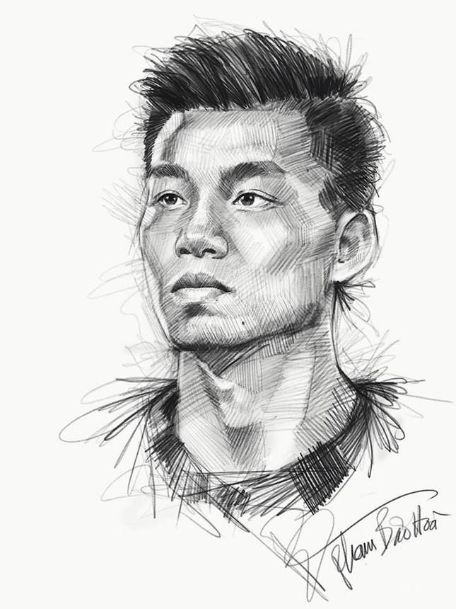 Tranh bút chì về chân dung HLV Park Hang-seo và U23 VN 'đốn tim' fan ảnh 10