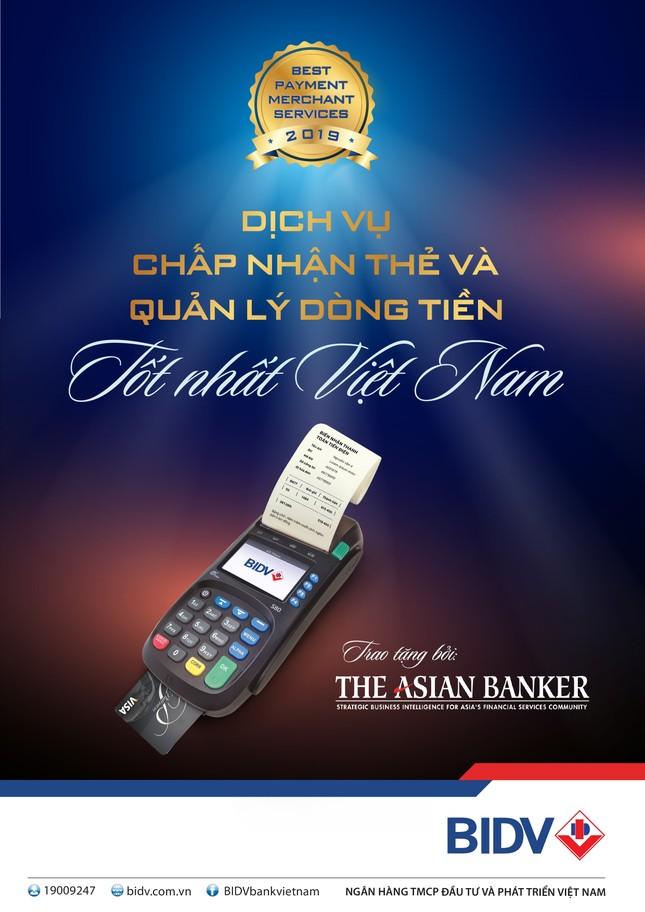 BIDV có dịch vụ chấp nhận Thẻ và Quản lý dòng tiền tốt nhất Việt Nam 2019 ảnh 1