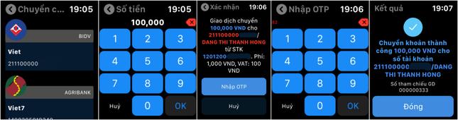 Trải nghiệm ngân hàng tương lai, ứng dụng BIDV trên Apple Watch ảnh 2