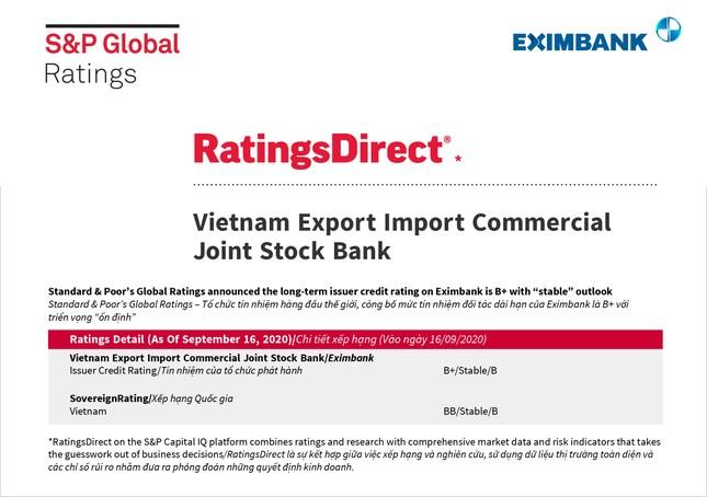 S&P Global giữ nguyên mức tín nhiệm B+ và triển vọng 'ổn định' đối với Eximbank ảnh 1