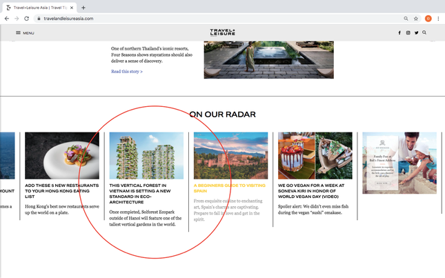 Tạp chí danh tiếng của Mỹ dành vị trí nối bật trang chủ viết về tòa tháp xanh cao nhất VN ảnh 1