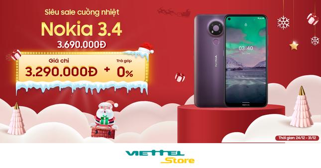Chào Noel và năm mới, Nokia 3.4 có giá giảm sâu, chỉ 3.290.000đ tại Viettel Store ảnh 1