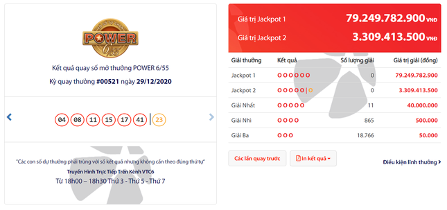 Jackpot Power 6/55 – ngưỡng 80 tỷ tìm chủ nhân ảnh 1