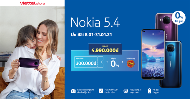 Viettel Store giảm ngay 300.000đ cho Nokia 5.4, cơ hội trúng Trâu vàng trị giá 6 triệu đồng ảnh 1