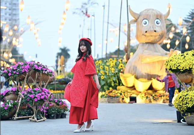 Áo dài Việt khoe sắc tại đường hoa Home Hanoi Xuan ảnh 2