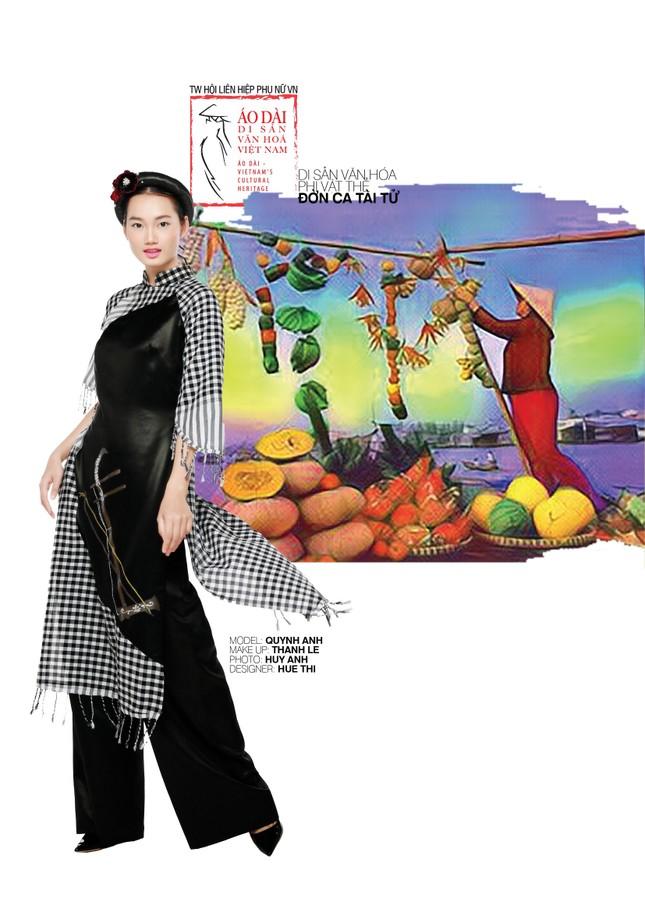 Đờn ca tài tử được khắc họa ấn tượng trên áo dài Việt Nam ảnh 4