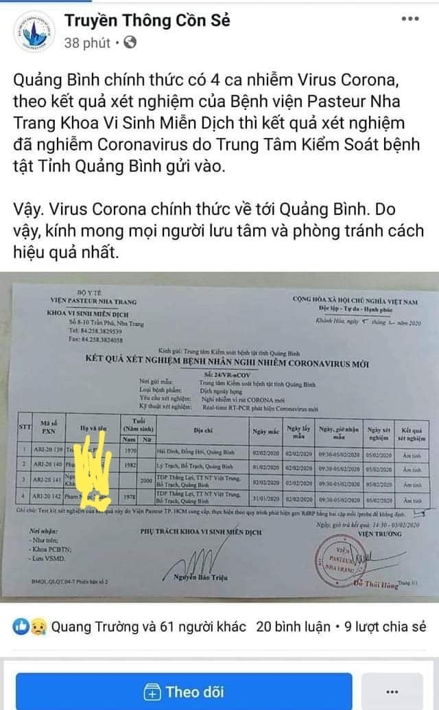 Một fanpage bịa đặt Quảng Bình có 4 người nhiễm nCoV khiến dư luận hoang mang ảnh 1