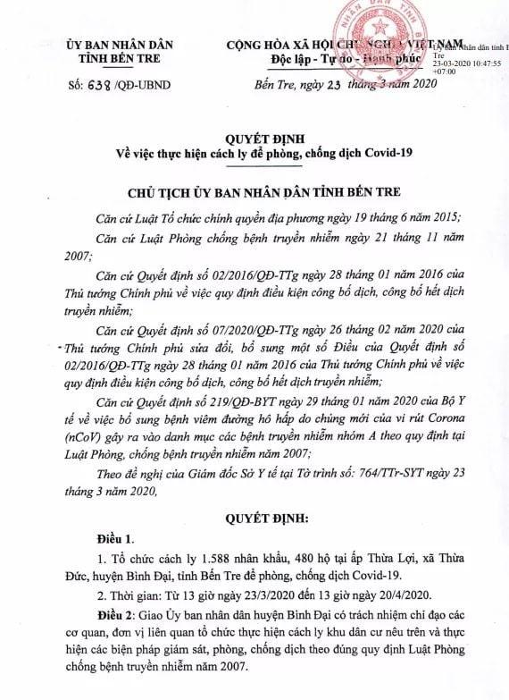 Bến Tre cách ly 1.588 người liên quan người nhiễm Covid -19 ảnh 1