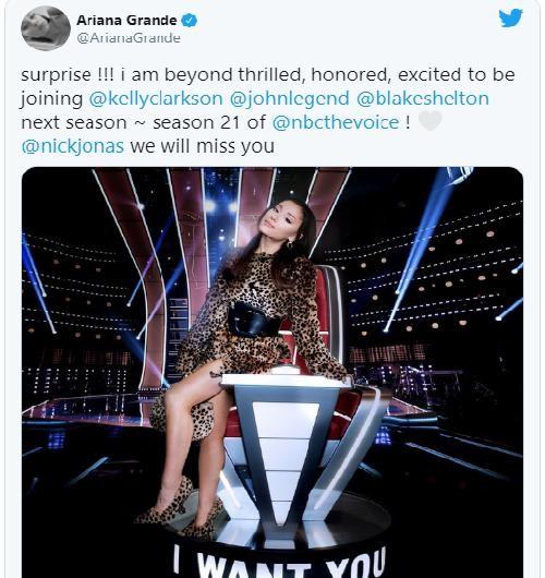 """NÓNG: Ariana Grande thay Nick Jonas làm huấn luyện viên """"The Voice"""" bản Mỹ mùa 21 ảnh 3"""