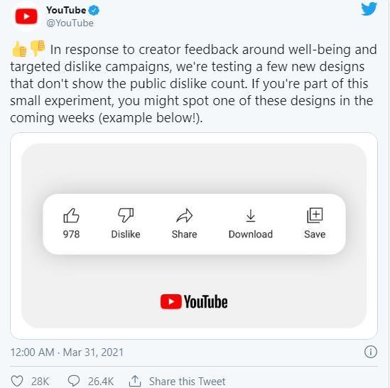 """YouTube quyết định sẽ ẩn lượt dislike, mạnh tay ngăn chặn vấn nạn """"bắt nạt"""" YouTuber ảnh 3"""