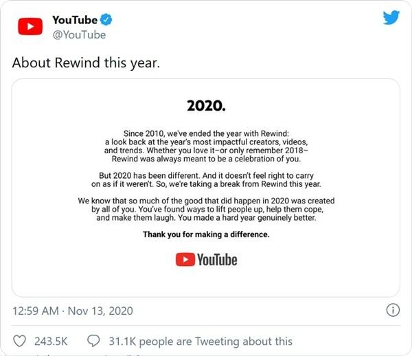 YouTube thông báo sẽ không làm video nhìn lại năm 2020, cư dân mạng tranh cãi về lý do ảnh 2