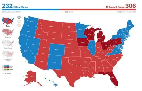 Sự trùng hợp kỳ lạ và khó tin về con số 306 trong kỳ bầu cử Tổng thống Mỹ năm 2016 và 2020 ảnh 2