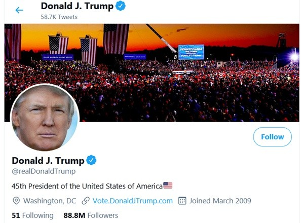 Tổng thống Trump càng kêu ca, số người theo dõi ông trên mạng xã hội càng giảm hằng ngày ảnh 2