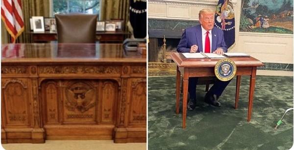 Tổng thống Trump gặp chuyện oái oăm: Họp báo ở Nhà Trắng mà ai cũng chỉ chú ý đến cái bàn ảnh 3