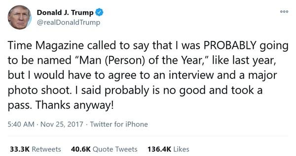 """Rất thích làm """"Nhân vật của năm"""", Tổng thống Trump phản ứng thế nào khi hụt danh hiệu này? ảnh 4"""
