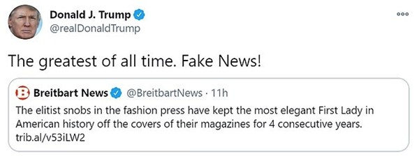 Tổng thống Trump ca ngợi Phu nhân, không hài lòng vì bà Melania không được lên bìa tạp chí ảnh 2