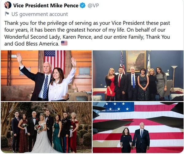 Phó Tổng thống Mike Pence đăng lời nhắn tạm biệt, mọi người nhận ngay ra điều khác thường ảnh 1