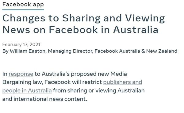 """Facebook thể hiện quyền lực khi chặn chia sẻ tin tức ở Úc: """"Hôm nay là nước Úc, ngày mai sẽ là gì nữa?"""" ảnh 1"""