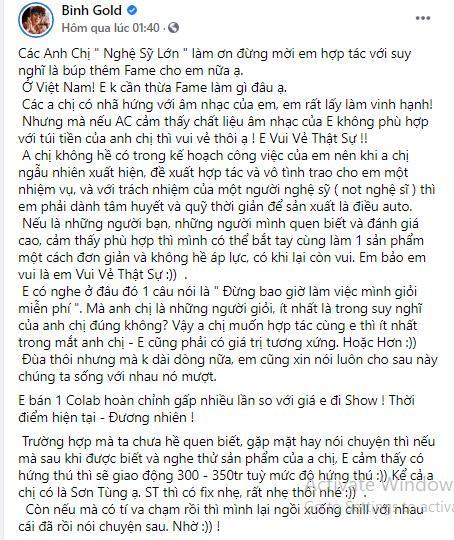 """Lần đầu công khai giá cát-xê làm nhạc, Bình Gold tiết lộ sẽ """"fix"""" nhẹ cho Sơn Tùng M-TP ảnh 2"""