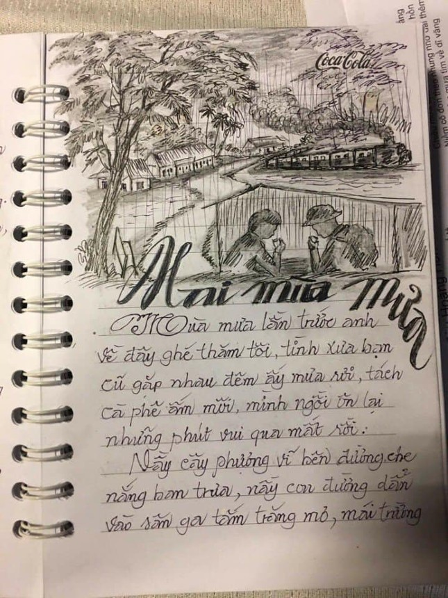"""Sổ chép nhạc thời """"ông bà anh"""": Chữ đẹp miễn chê nhưng đỉnh nhất lại là hình minh họa  ảnh 5"""