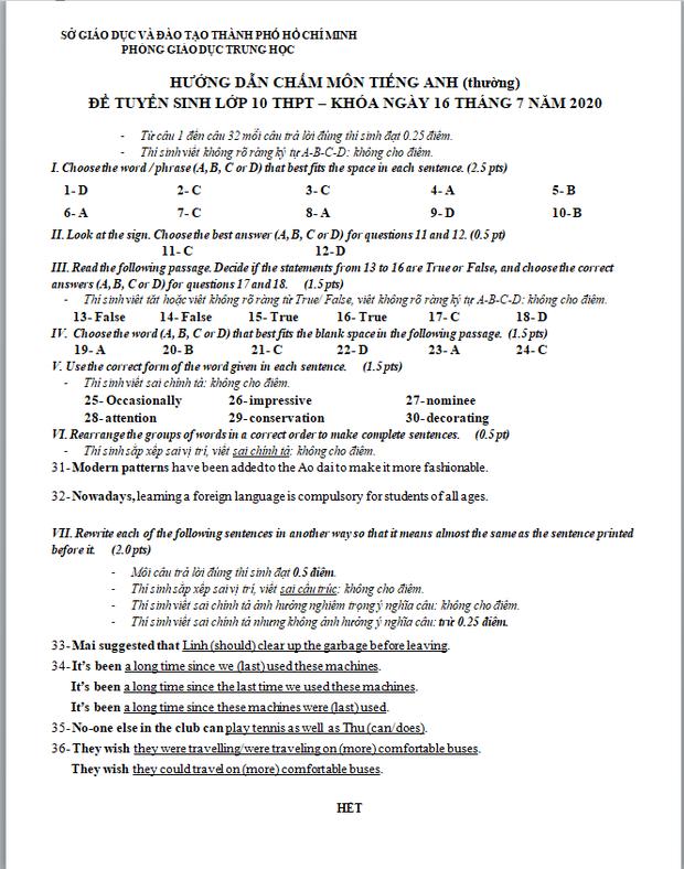 Trọn bộ đáp án chính thức Toán - Văn - Anh tuyển sinh lớp 10 năm 2020 từ Sở GD-ĐT TP.HCM ảnh 8