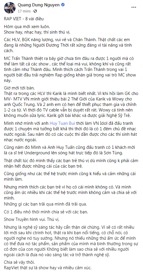 """Đạo diễn Nguyễn Quang Dũng nói về """"Rap Việt"""": """"Nghệ sĩ sáng tác hãy cẩn thận, dè chừng"""" ảnh 2"""