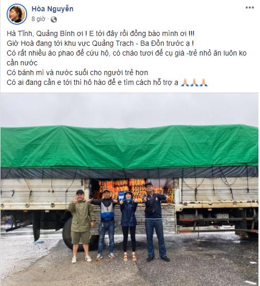 Ấm lòng khi hàng loạt sao Việt đích thân đi cứu trợ người dân miền Trung mùa bão lũ ảnh 1
