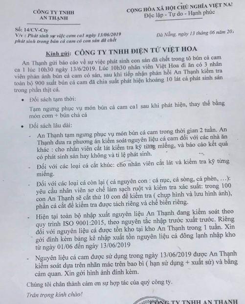 Xác minh thông tin phát hiện sán trong tô bún cá của công nhân Đà Nẵng ảnh 2