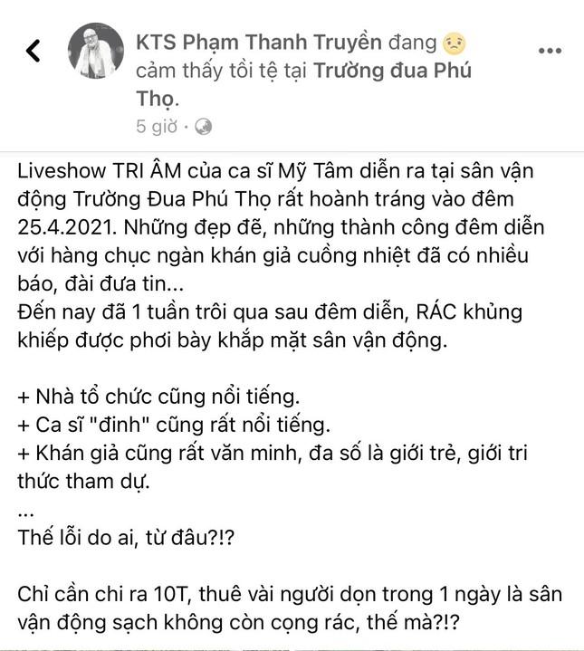 """Liveshow """"Tri Âm"""" của Mỹ Tâm trở thành chủ đề tranh cãi vì hình ảnh SVĐ Phú Thọ ngập rác ảnh 2"""