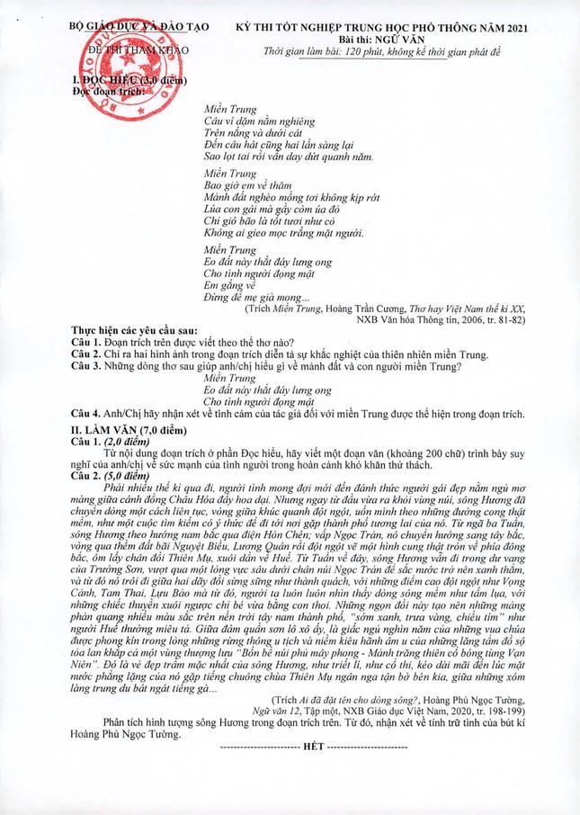 """Teen """"rì-viu"""" đề tham khảo môn Ngữ văn kỳ thi tốt nghiệp THPT 2021: Câu 5 điểm khá """"khoai"""" ảnh 1"""