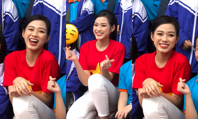 """Teen chụp Hoa hậu Đỗ Thị Hà về trường giao lưu, ai nấy đều trầm trồ: """"Đẹp không góc chết!"""" ảnh 1"""