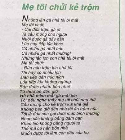 """""""Mẹ tôi chửi kẻ trộm"""" đạt giải cao nhất trong cuộc thi thơ khiến dân mạng tranh cãi dữ dội ảnh 1"""