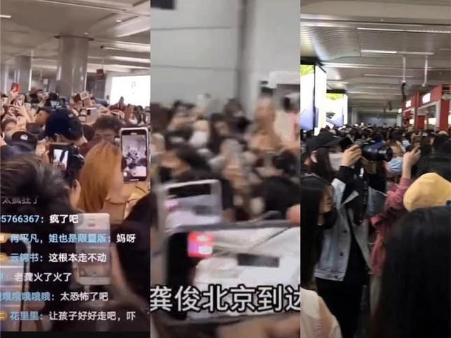 """Mỹ nam """"Sơn Hà Lệnh"""" Cung Tuấn hoang mang khi bị fan vây kín ở sân bay ảnh 2"""