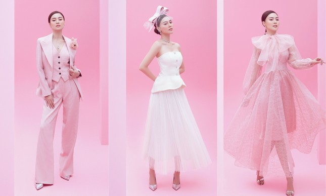 Với 2 tông màu trắng hồng, Lan Ngọc xinh đẹp dịu dàng trong các thiết kế kiểu dáng mới lạ ảnh 1