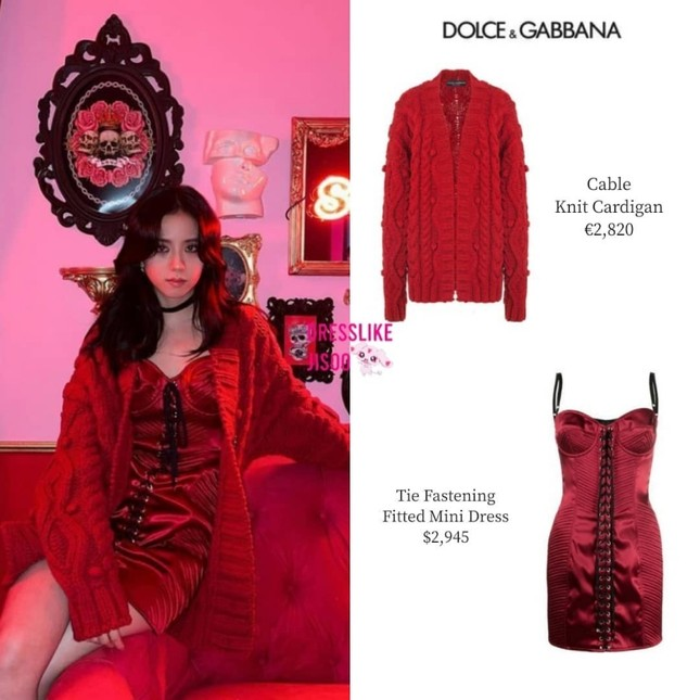Mặc set đồ đỏ của D&G trị giá gần 175 triệu, Jisoo (BLACKPINK) quyến rũ hơn cả mẫu xịn của hãng ảnh 3