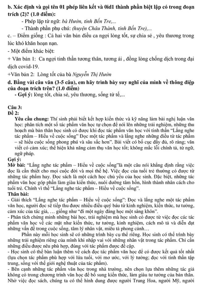 Đáp án bài thi Ngữ Văn tuyển sinh 10 TP.HCM môn Ngữ Văn 2020 ảnh 4