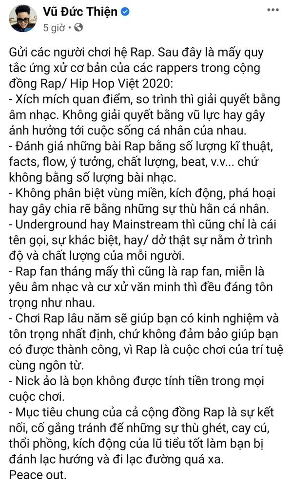 """Kết thúc màn """"rap dizz"""", Rhymastic soạn hẳn bộ quy tắc ứng xử dành cho rapper Việt ảnh 2"""