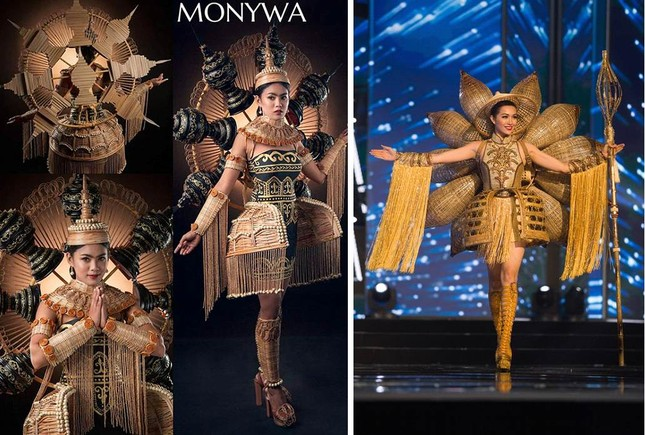 Trang phục dân tộc Hoa hậu Hoàn vũ Myanmar 2020 gây sốt, có bộ bắt chước Việt Nam? ảnh 3