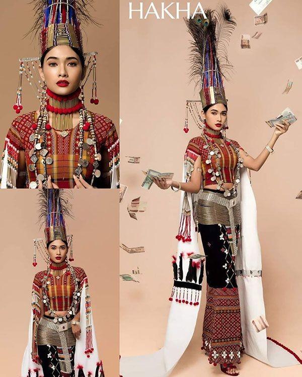 Trang phục dân tộc Hoa hậu Hoàn vũ Myanmar 2020 gây sốt, có bộ bắt chước Việt Nam? ảnh 5