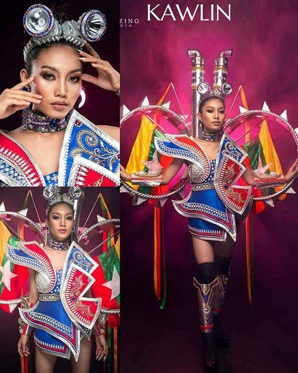 Trang phục dân tộc Hoa hậu Hoàn vũ Myanmar 2020 gây sốt, có bộ bắt chước Việt Nam? ảnh 7