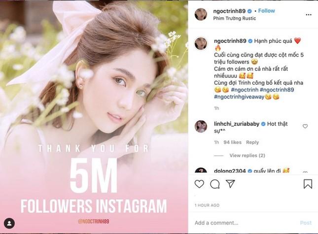 Đạt 5 triệu followers trên Instagram, Ngọc Trinh mạnh tay chi tiền mặt tặng fan   ảnh 1