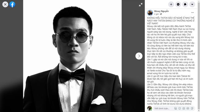"""Lần hiếm hoi Wowy tỏ thái độ bức xúc, tố TikTok """"đang coi thường nghệ sĩ Việt"""" ảnh 1"""