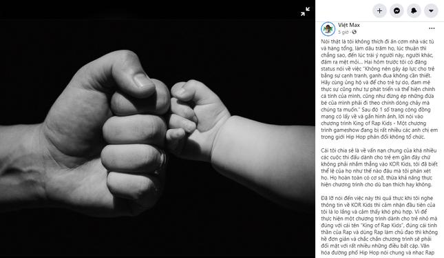 """Việt Max: """"Nghe thông tin về 'King Of Rap Kids', tôi lo lắng và cảm thấy khó phù hợp"""" ảnh 1"""