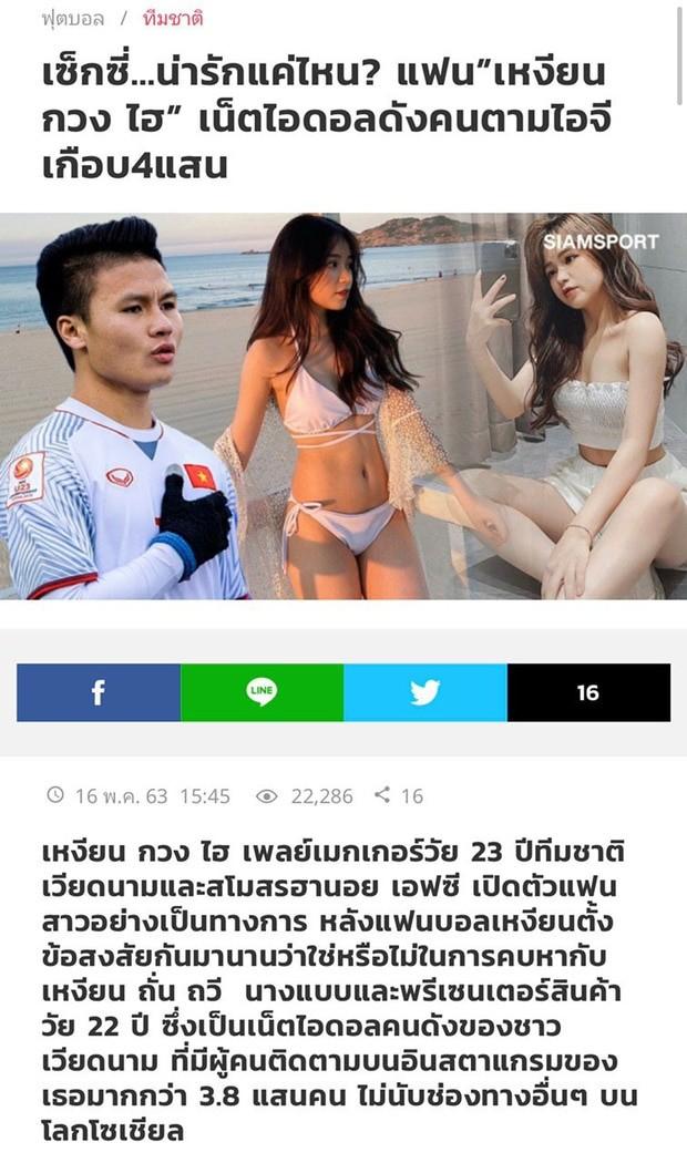 """Chuyện tình cảm của Quang Hải lên báo Thái nhưng nhìn ảnh bạn gái """"lạ lắm à nghen"""" ảnh 2"""