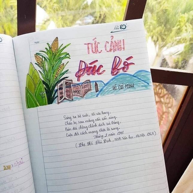 Cuốn vở Ngữ văn được trang trí đầy màu sắc, nhìn vào là muốn học bài ngay! ảnh 3