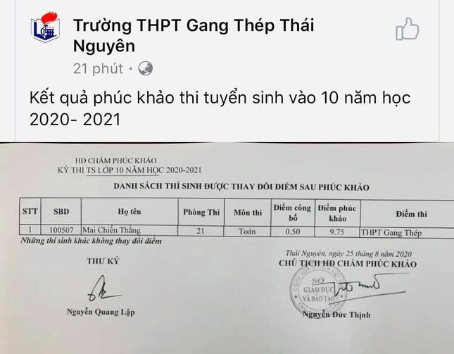 Nam sinh Thái Nguyên phúc khảo điểm từ 0,5 lên 9,75 khiến cộng đồng mạng xôn xao ảnh 1